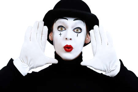 mime: Portrait of a male mime artist. Isolated over white. Stock Photo