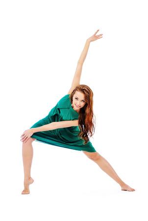 ballet dancer: Modern ballet dancer dancing at studio. Art concept. Inspiration. Isolated over white. Stock Photo