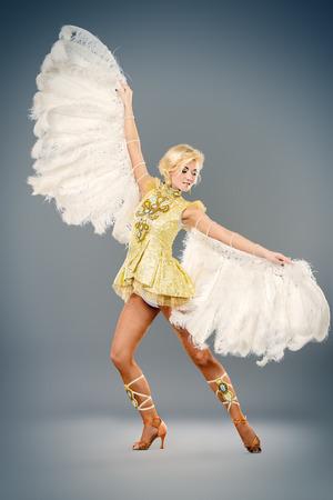 gogo girl: Attraktive Tänzerin posiert im Studio in einem schönen Kostüm mit Flügeln. Balletttänzer. Show-Ballett. Karneval. Lizenzfreie Bilder