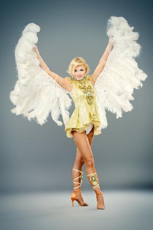 gogo girl: Attraktive T�nzerin posiert im Studio in einem sch�nen Kost�m mit Fl�geln. Ballettt�nzer. Show-Ballett. Karneval. Lizenzfreie Bilder