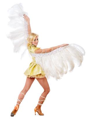 bailarina: Bailarina elegante posando en el estudio en un hermoso traje con alas. Bailarina de ballet. Espectáculo de ballet. Carnaval. Aislado en blanco. Foto de archivo