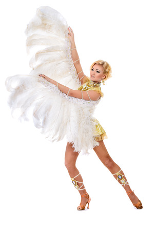 lady bird: Elegant female dancer posing at studio in a beautiful costume with wings. Ballet dancer. Show-ballet. Carnival. Isolated over white.