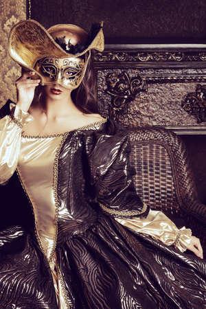 donna ricca: Venetian travestimento di carnevale. Archivio Fotografico