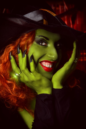 wicked: Close-up portrait of a fairy wicked witch in the wizarding lair. Magic. Halloween. Stock Photo