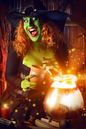 wicked: Fairy wicked witch in the wizarding lair. Magic. Halloween.