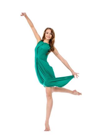 ballet: Moderna del baile del bailar�n de ballet en el estudio. Concepto del arte. Inspiraci�n. Aislado en blanco.