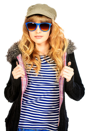 frock coat: Fashion shot of a modern  teenager girl. Beauty, fashion concept. Sunglasses. Isolated over white.