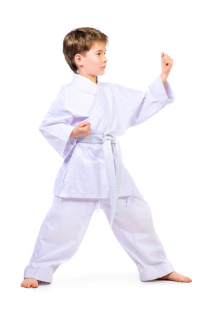 karate boy: Karate boy in kimono posing in the studio. Sport, martial arts. Isolated over white. Full length portrait. Stock Photo