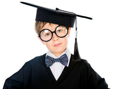 graduation suit: Portrait of a smart student boy in graduation suit. Educational concept. Isolated over white.