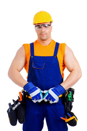 job occupation: Portrait of an industrial worker posing with different emotions. Job, occupation. Isolated over white. Stock Photo