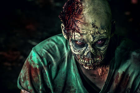 Close-up portrait of a horrible scary zombie man. Horror. Halloween. Reklamní fotografie