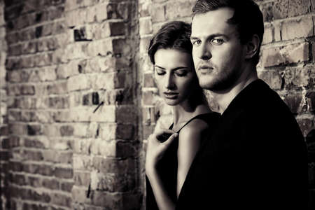 black couple: Black-and-white portrait of a beautiful man and woman