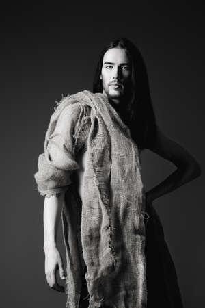 nazareth: Portrait of Jesus Christ of Nazareth. Black-and-white photo.