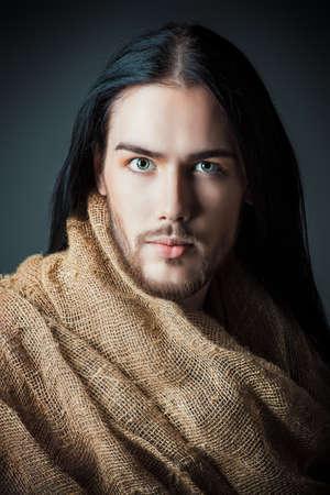 antique jesus: Portrait of Jesus Christ of Nazareth. Stock Photo
