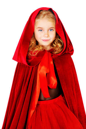 hood: Beautiful little girl in a red raincoat with a hood