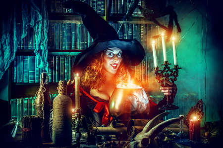 witchery: Fairy wicked witch in the wizarding lair. Magic. Halloween.