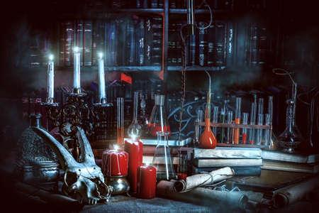 Medieval alchemist laboratory. Halloween. Fairy-tale interior. Stock Photo - 46934777