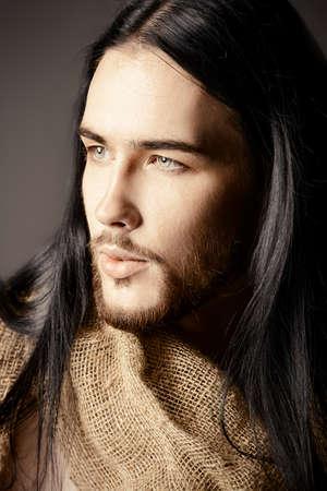 jesus face: Portrait of Jesus Christ of Nazareth. Stock Photo
