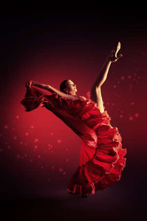modern ballet dancer: Beautiful professional dancer performs latino dance. Passion and expression.