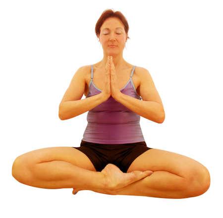oneness: Signora che mostra oneness con luniverso usando yoga