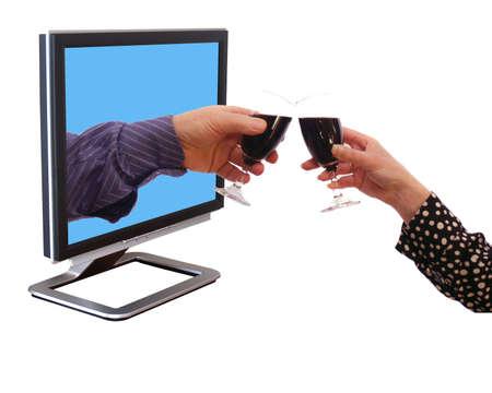 Glas wijn met uw internet-vriend Stockfoto