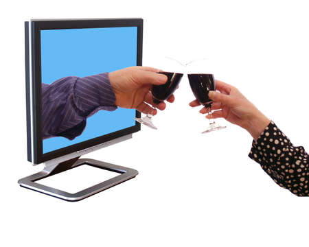 Glass of wine with your internet friend Stock Photo