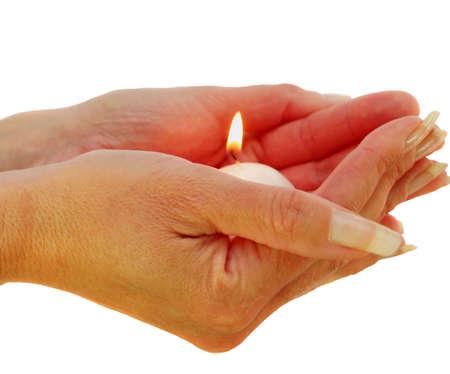 Verlichting een Candel en zeggen een gebed