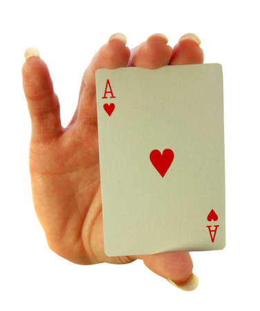 risky love: Lady holding the Ace of Hearts in her palm