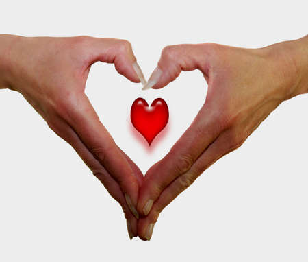 Dame toont haar winnende hand geluk in de liefde Stockfoto