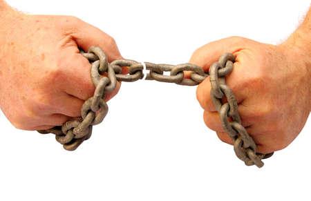 chainlinked: Breaking kettingen en krijgen de vrijheid van bondage Stockfoto
