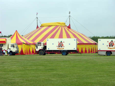 Circus background with plenty of green.