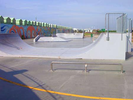 Achtergrond van een stedelijk park skatebord Stockfoto