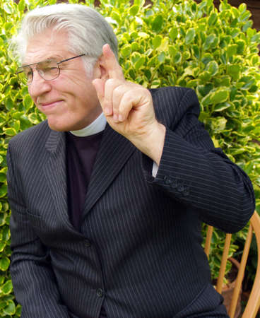 vicar: Vicar giving a sermon in the garden