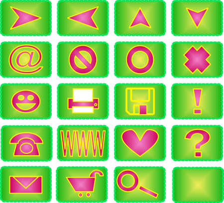 Collection of 20 different useful icons (green and pink theme) photo