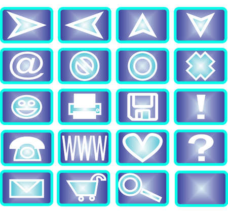 Collection of 20 different useful icons (winter theme) photo