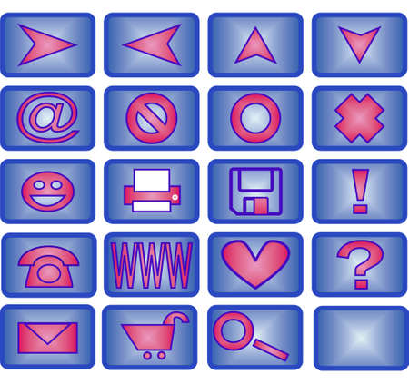 Collection of 20 different useful icons (blue and pink theme) photo