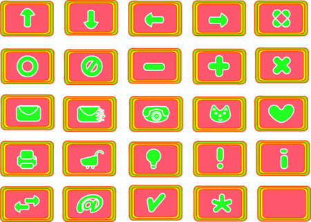 Collection of 25 different useful icons (bright summer theme) photo