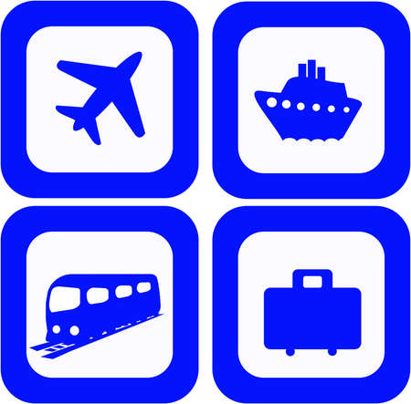 steamship: Set of 4 travel icons Stock Photo