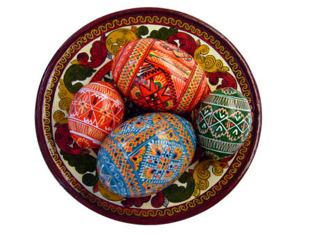 Colorful Easter eggs on the tradional Russian plate photo
