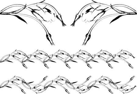 scrolling: Grunge flower scrolling patterns set Stock Photo