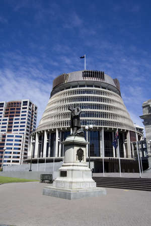 assembly language: Parliament and Beehive office building, Wellington, New Zealand
