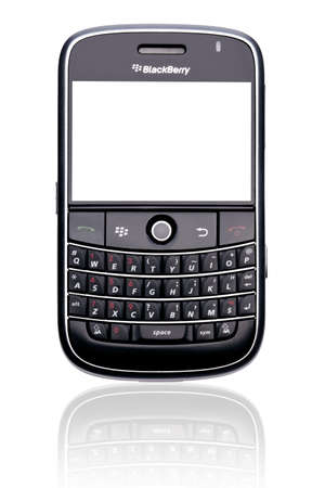 keypad: A Blackberry Bold 9000 smartphone, isolated on white with clipping paths for both phone and screen. Editorial