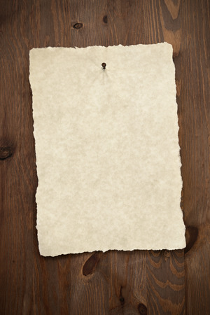 Blank parchment paper with torn edges nailed to an old wooden door with a rusty nail. photo