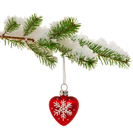 Red heart shaped Christmas ornament hanging from the branch of a Christmas tree covered in snow, isolated on a white background. photo