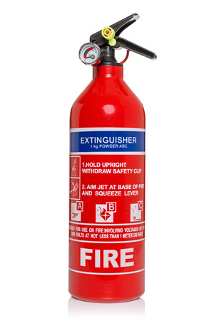 fire extinguisher: Fire extinguisher isolated on a white background  Stock Photo