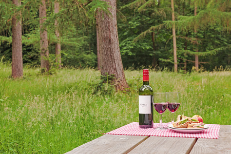 alfresco: Alfresco dining with a bottle of wine, two glasses and sandwiches on a picnic table in woodland setting.