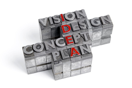 acronym: Idea as an acronym with the words Vision Design Concept and Plan in old metal letterpress printing blocks isolated on white. Stock Photo