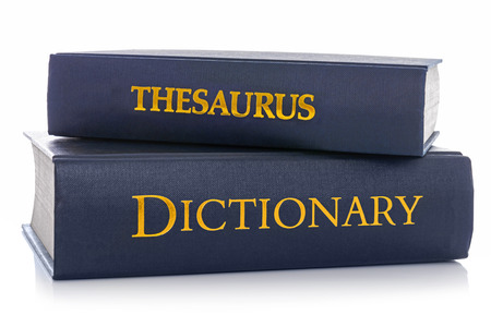 dictionary: A Thesaurus and Dictionary isolated on a white background.