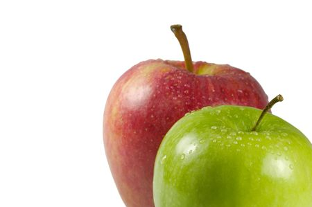 allow: Green and Red apple isolated against white and posistioned in the lower right of frame to allow space for copy Stock Photo