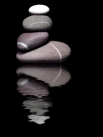 harsh: Pebble sculpture with harsh lighting from above on a black background with reflection